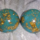 clear Lucite screwback earrings gold leaf button look like the world vintage MT