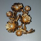 Vintage pin brooch gold tone morning glory plant faux pearls textured