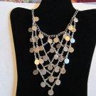 Silver tone mesh v shaped necklace vintage prom wedding belly dancer