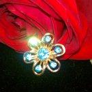 Sky Blue gold tone scatter pin brooch gold tone vintage flower