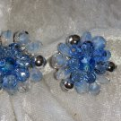Vintage earrings silver tone large cluster button blue art glass Germany