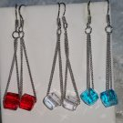 Earrings dangle Cubic Zirconia Solitaires geometric blue red clear new