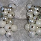 vintage silver tone clip on earrings Signed Japan white beads AB rhinestones