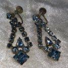 Glass blue rhinestone earrings dangle screw back vintage