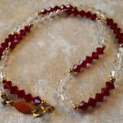 Ruby Red & Clear Crystal beads necklace vintage lovely Downton Abbey Wedding