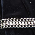 Chain link necklace clear rhinestones galore silver tone OMG look