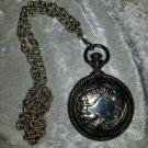 vintage Art Nouveau necklace makeup holder peacock faux pocket watch Train