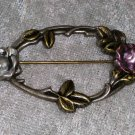 rose flowers leaf brass brooch pin vintage gold tone painted