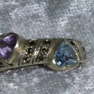 Vintage 9.25 blue topaz Amethyst marcasite heart ring Downton Abbey sterling