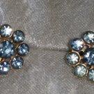 Light blue Rhinestone cluster earrings button vintage screw back Timeless