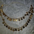 vintage belly dancer coin necklace gold tone nice 34 inches around jingle