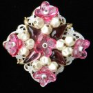 Vintage pin brooch signed West Germany Lucite flowers white glass bead cap