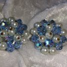 vintage blue cluster button earrings silver tone Aurora borealis faux pearls