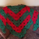 Handmade virus shawl Christmas colors Red and Green crochet stunning