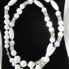 vintage white faux pearl beads opaque silver tone beads necklace 1980's single