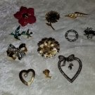 Lot of vintage pins brooches flowers rhinestones sarah coventry faux  sold as is