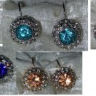 Earrings hoops clear Cubic Zirconia Solitaires  pink blue amber elegant