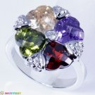 RING SIZE5.75 CLASSY COLORFUL TOPAZ GEMS SILVER handcraft JEWELRY