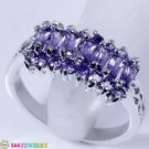RING SIZE7.75 PURPLE AMETHYST SILVER handcraft 168JEWELRY