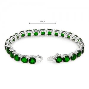 Attractive Brand New Tennis Bracelet 26.25ctw Genuine Diopsides Crafted in Silve