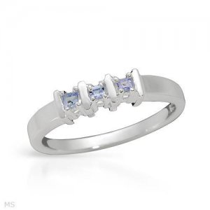 Charming Brand New Three-stone Ring With Genuine Tanzanites Made of 925 Sterling