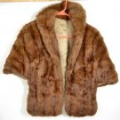 Women&#39;s Brown Muskrat Fur Skin Cape W/ Pockets