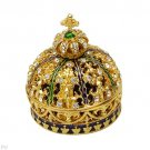 Regal Jewelry Box with Stal Made of Yellow Base metal and Multicolor Enamel