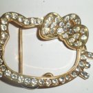 HELLO KITTY GOLD BLING GEM ICED OUT BUCKLE NEW FITS STANDARD hip hop SNAP BELTS