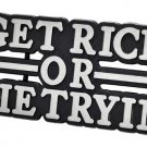 GET RICH OR DIE TRYIN 50 CENT BUCKLE FREE BLACK SNAP BELT XS,S,M,L,XL NEW