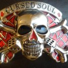 CURSED SOUL SKULL CHROME/RED BUCKLE NEW FITS STANDARD SNAP BELT HIP HOP