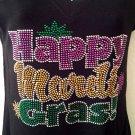 NEW Happy Mardigras   Rhinestone womens  T-Shirt Tee 1-S,M,L,XL,XL
