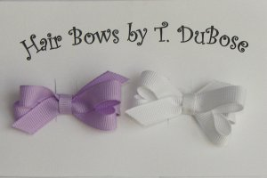 WHITE AND LAVENDER BABY BOWS