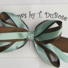 BROWN & TEAL HAIR BOW
