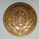 1844 Bank Of Montreal Half Penny Bank Token