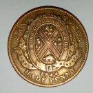 1844 Bank Of Montreal Half Penny Bank Token