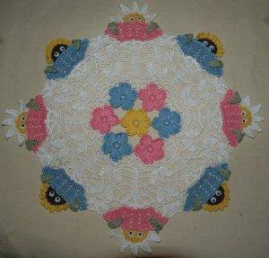 Peeking Flowers Crochet Doily Pattern