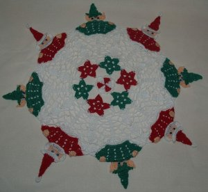 Christmas Peeking Elves & Santa Crochet Doily