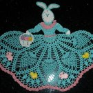 Easter Bunny Girl Crochet Doily  Pattern