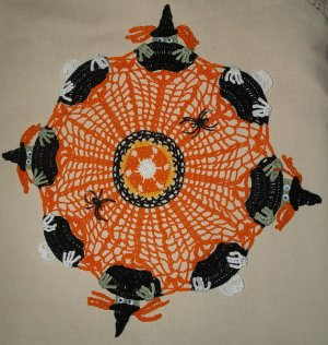 Halloween Witches & Skeletons in Cauldrons Crochet Doily Pattern