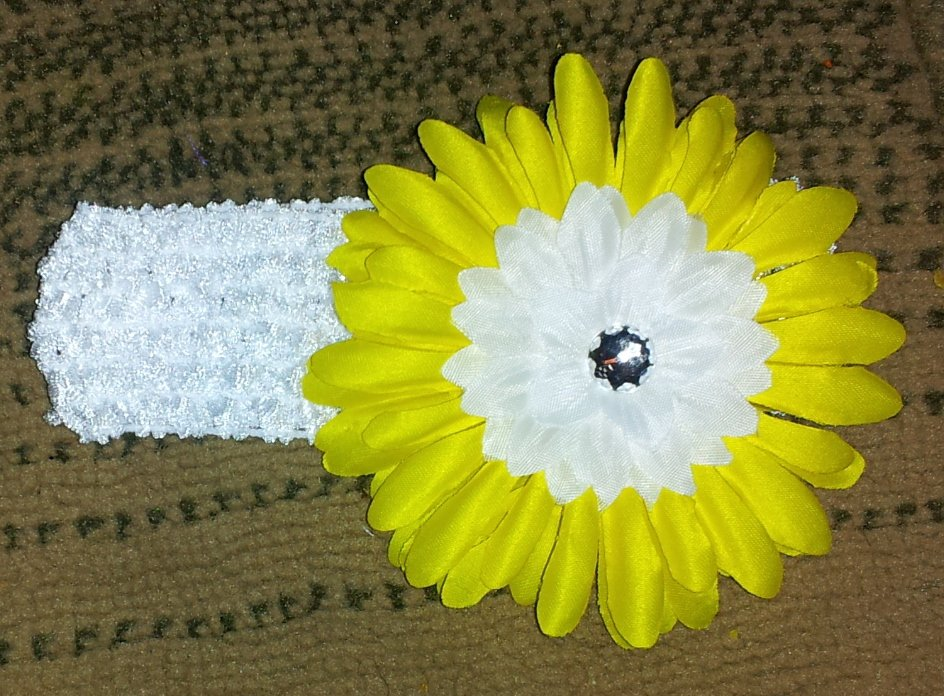 Yellow and White Floral Crochet Headband