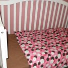Pink and Brown Circle Baby  Toddler Bedding Set (NEW)