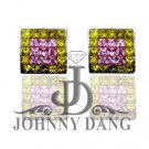 SD-PC-E0008-Fancy Yellow and Pink Diamond Invisible Setting Earring