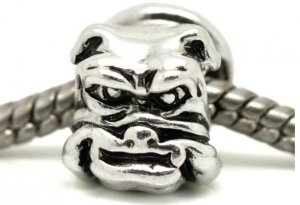 Antique Silver Bulldog Head Charm