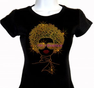 Lady with Afro - GOLD - Iron on Rhinestone - Junior Fitted Black T-Shirt - Pick Size S-3XL - Top