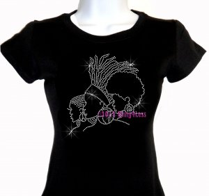 Afro Lady - 3 Ladies - Iron on Rhinestone - Junior Fitted Black T-Shirt - Pick Size S-3XL - Top