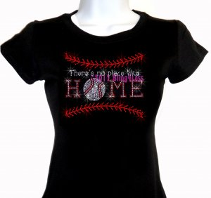 Baseball Stitch - Like Home - Iron on Rhinestone - Junior Fitted Black T-Shirt -Pick Size S-3XL- Top