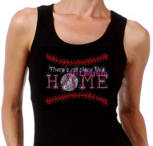 Baseball Stitch - Like Home - Iron on Rhinestone - Junior Black TANK TOP - Pick Size S-3XL - Shirt