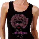 Lady with Afro - PINK - Iron on Rhinestone - Junior Black TANK TOP - Pick Size S-3XL - Shirt