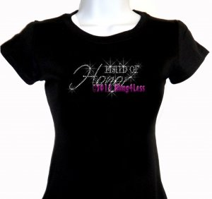 Maid of Honor - Iron on Rhinestone - Junior Fitted Black T-Shirt - Pick Size S-3XL - Bridal Bride