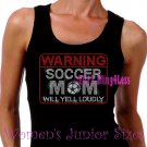 WARNING - Soccer Mom - Iron on Rhinestone - Junior Black TANK TOP - Pick Size S-3XL - Sports